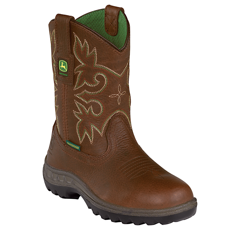 Details about John Deere Youth Boys Brown Leather Waterproof Pull-On ...