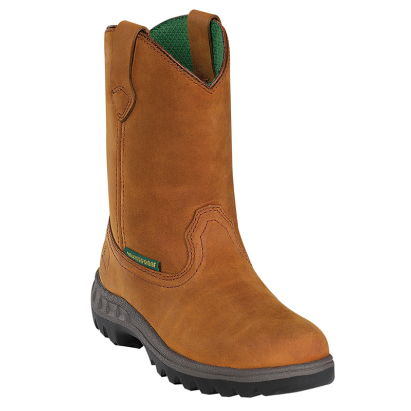 John Deere Youth Boys TAN Leather Waterproof Pull ON Cowboy Work Boots ...