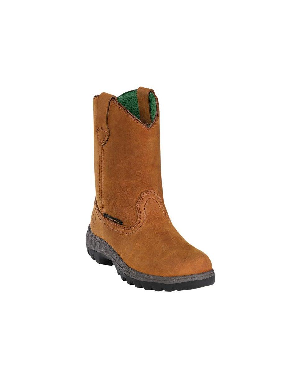 John Deere Boy's Waterproof Pull-On Boot - Tan