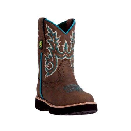 John Deere Western Boots Girls Kids Round Toe Steel Shank Brown JD2032 ...