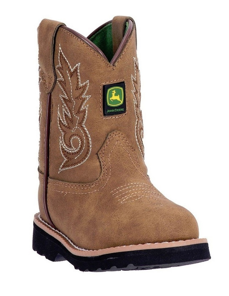 John Deere Western Boots Boys Kids Round Toe Leather Cement Tan JD1031 ...