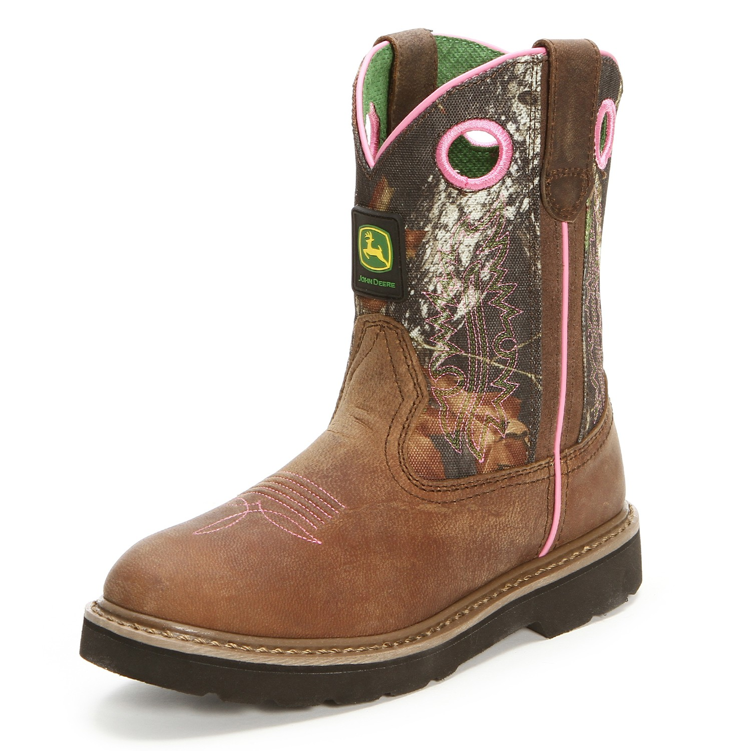 John Deere Kids Round Toe Distressed Camo Cowgirl Boots