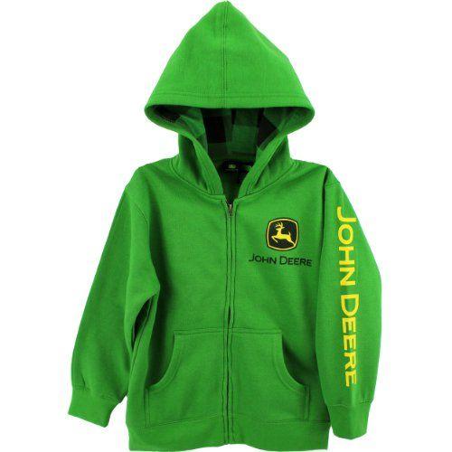 John Deere Youth Zip Front Hooded Sweatshirt Green (Size 8) John Deere ...