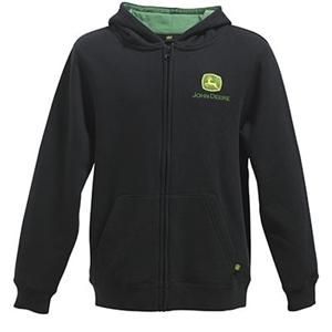 John Deere Youth Boy's Black Full Zip Hooded Sweatshirt | WeGotGreen ...
