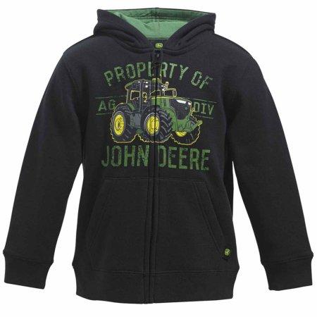 John Deere Boys Black Zip Front Hoodie Tractor Sweatshirt - Walmart ...