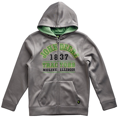 John Deere Youth Boy's Gray 1837 Full Zip Hooded Sweatshirt ...
