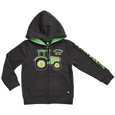 John Deere Toddler Boy's Black Tractor Full Zip Hooded Sweatshirt ...