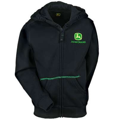 John Deere Sweatshirts: Kid's Black Cotton Fleece Hooded Sweatshirt ...