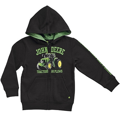 John Deere Boy's Black Tractors & Plows Full Zip Hooded Sweatshirt ...