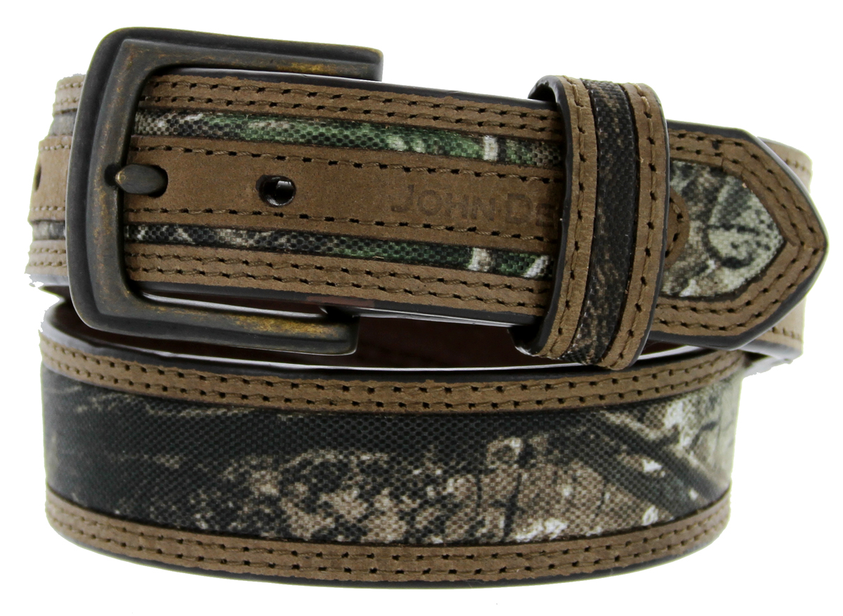 ... John Deere Realtree Fabric Camouflage Leather Dress Belt 1-1/4