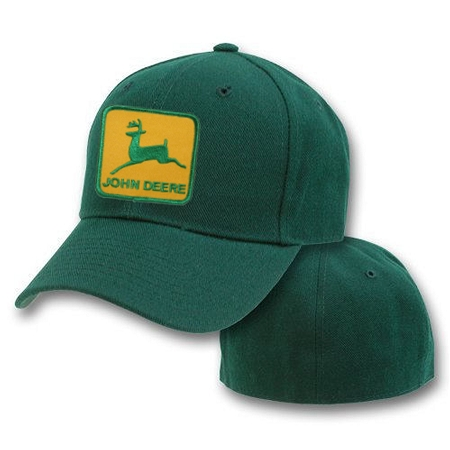 ... FLEXIBLE FITTED CAPS 3XL > Big John Deere Logo On Green Flexible Cap