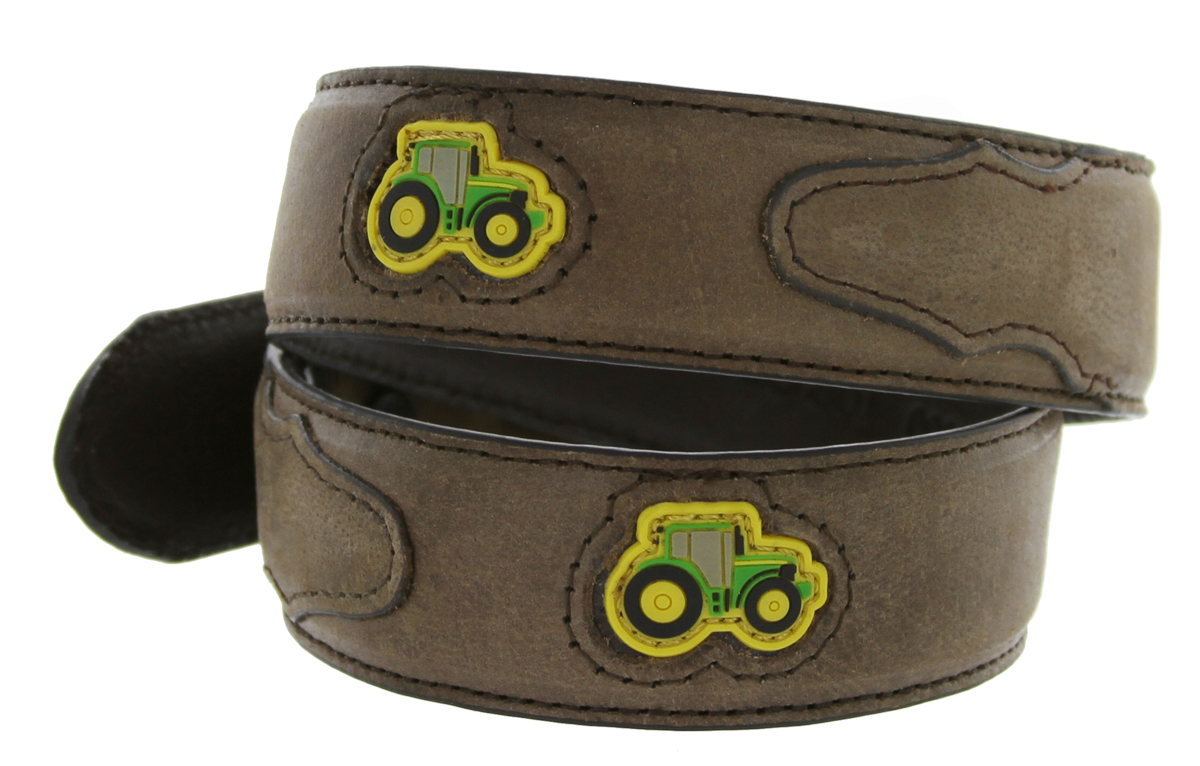 ... leather belt tractor rubber patch insets, buckle in silver tone finish