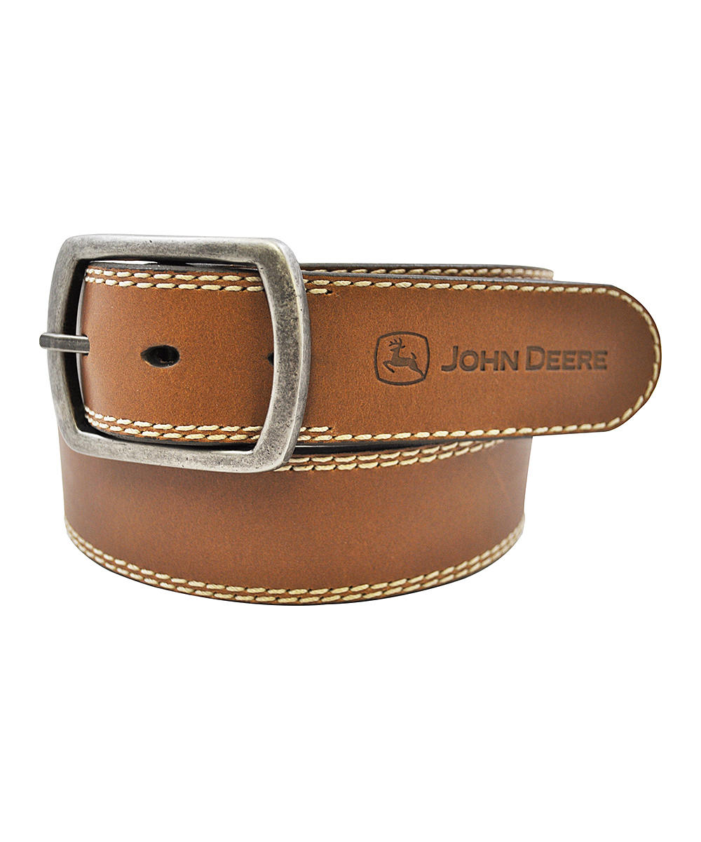 John Deere Brown Buffalo Leather Belt - Men | zulily