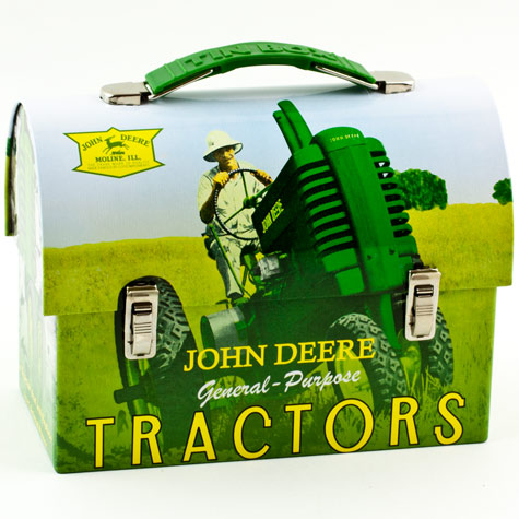 Details about JOHN DEERE Green Tractor Tin Workman Lunch Box Carry All ...