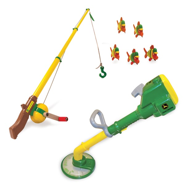 TOMY John Deere Fishing Pole and Yard Trimmer Toy Bundle ...