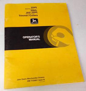 John Deere 250G 300G 350G Trimmer Cutter Operators Manual