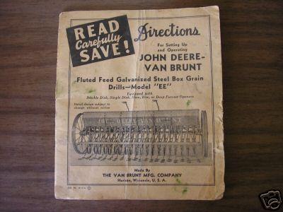 John deere van brunt grain drill model ee manual
