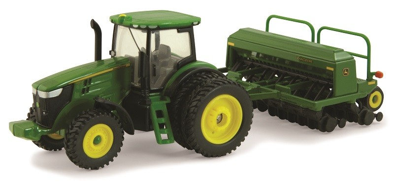 JOHN DEERE TOY 7215R TRACTOR WITH 1590 GRAIN DRILL (45433)