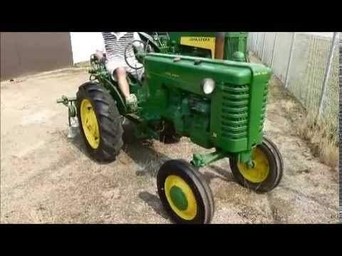 John Deere M with 2 Point Hitch Cultivator - YouTube