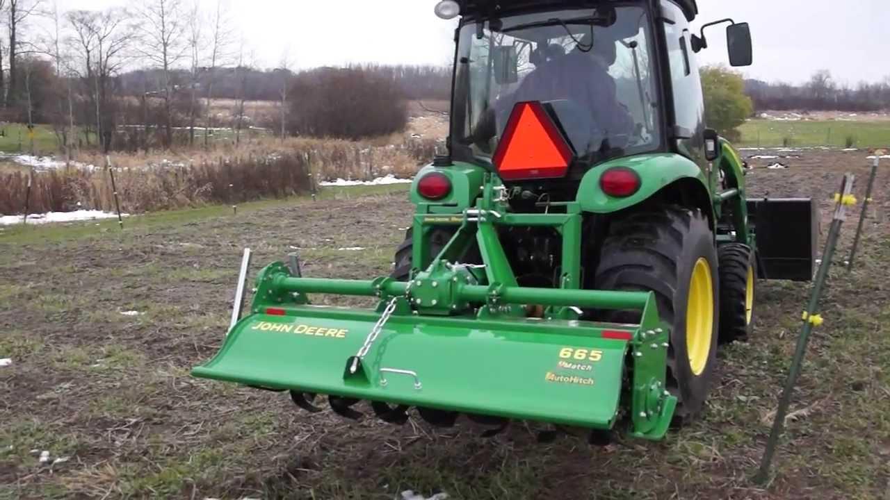 Farming with a John Deere Tiller 665 - YouTube