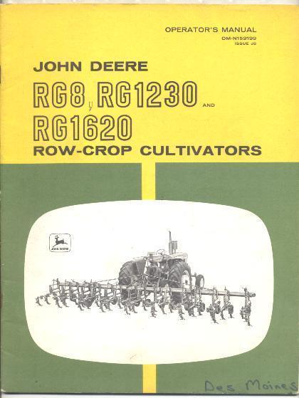 John Deere Manual RG8 RG1230 RG1620 Row-Crop Cultivators ...