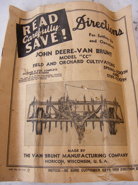John Deere Van Brunt Model CC Field Cultivator Antique