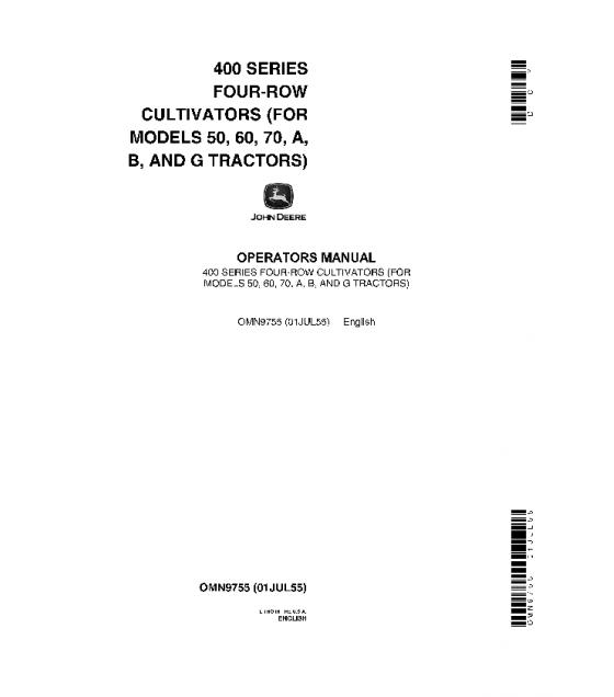 Download JOHN DEERE OPERATORS MANUAL 400 SERIES FOUR-ROW ...