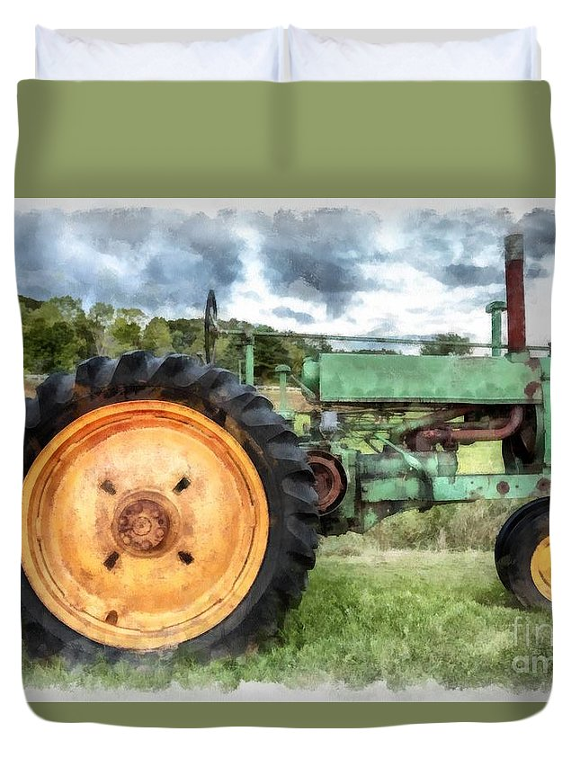 Vintage John Deere Tractor Watercolor Queen Duvet Cover ...