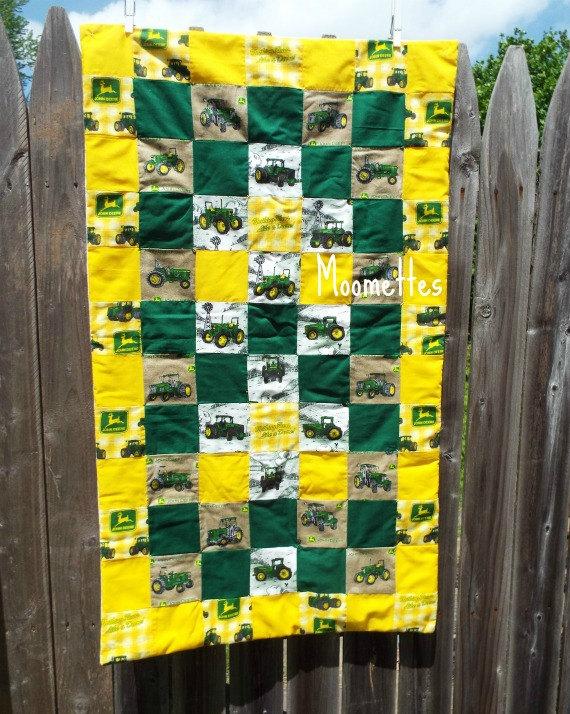John Deere Baby Quilt Green Yellow Farm by MoomettesCrochet