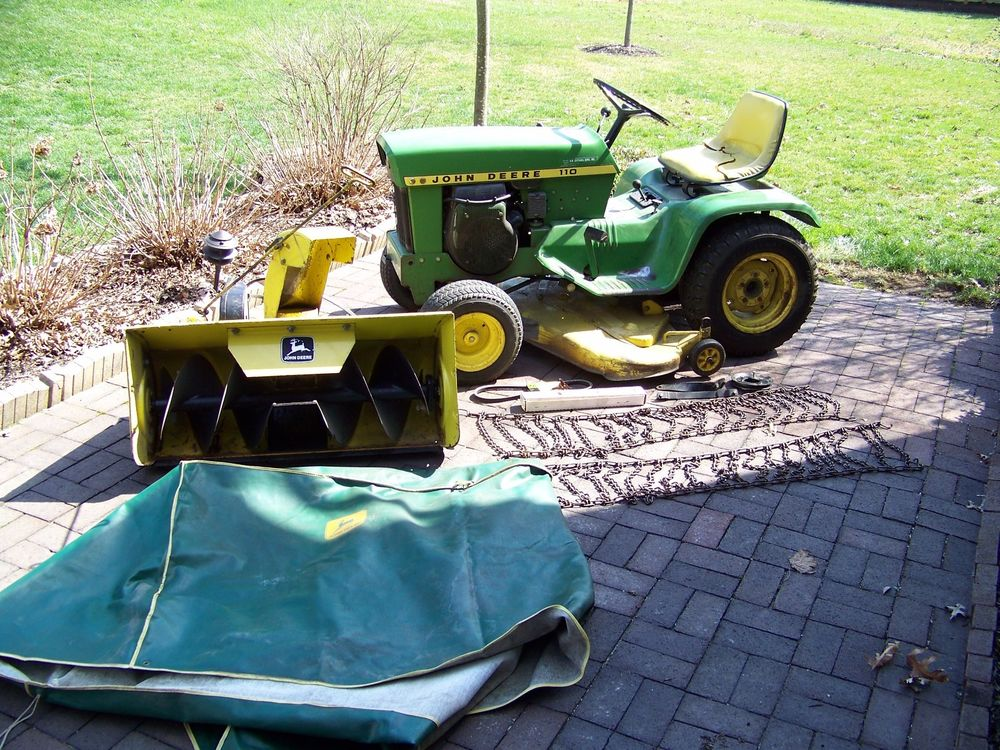 1974 JOHN DEERE 110 Garden Tractor w/ Snow Blower, Cover ...