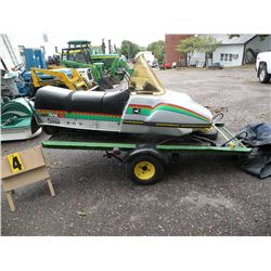 John Deere Trail Fire snowmobile w/ trailer and cover ...