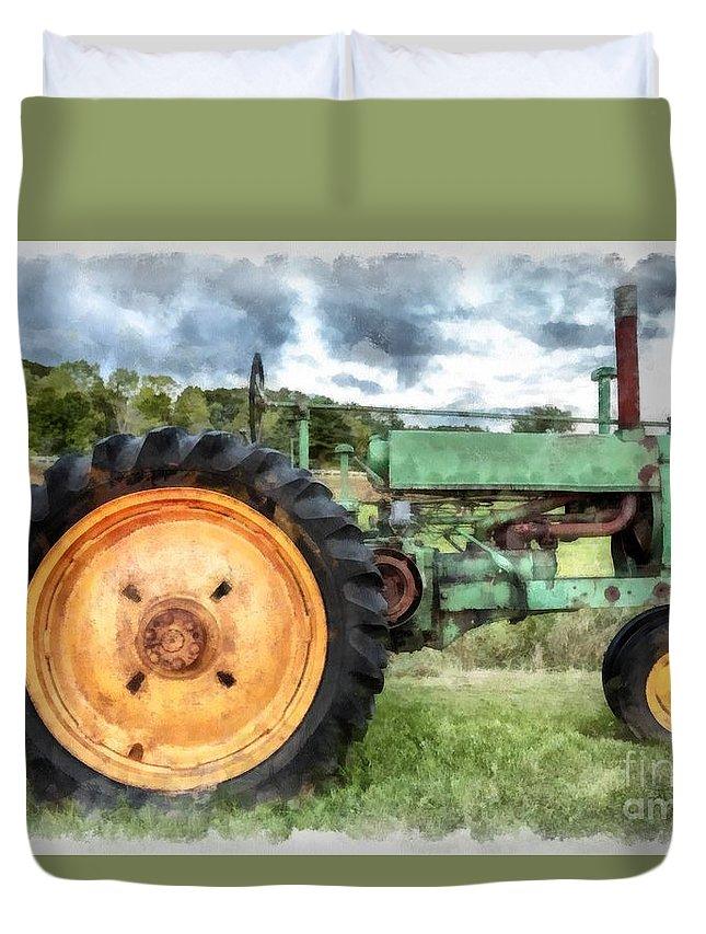 Vintage John Deere Tractor Watercolor Queen Duvet Cover ...