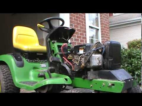 John Deere LT170 cold start - YouTube
