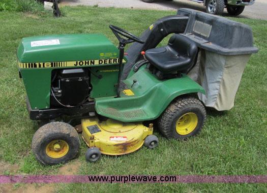 John Deere 116 riding lawn mower   no-reserve auction on ...