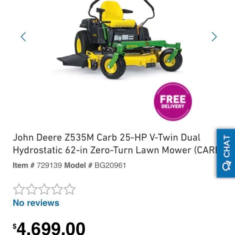John Deere Z535M Carb 25-HP V-Twin Dual Hydrostatic 62-in ...