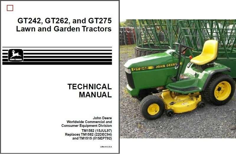 John Deere GT242 GT262 GT275 Lawn & Garden Tractor Service ...