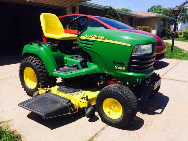John Deere X495 Diesel Garden Tractor w/ Snowblower ...