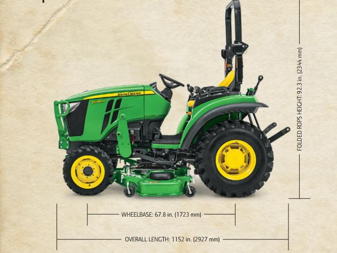 John Deere 2038R Compact Utility Tractor dimension – All ...