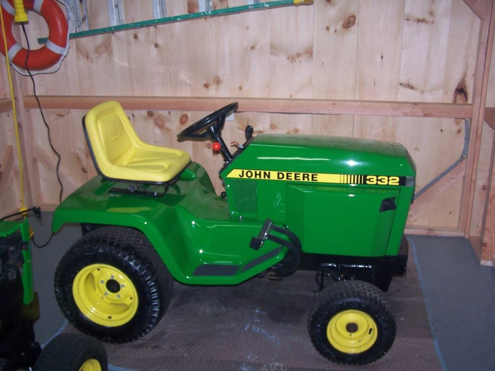 John Deere 332 Diesel Lawn Tractor w/Attachments   Tractor ...