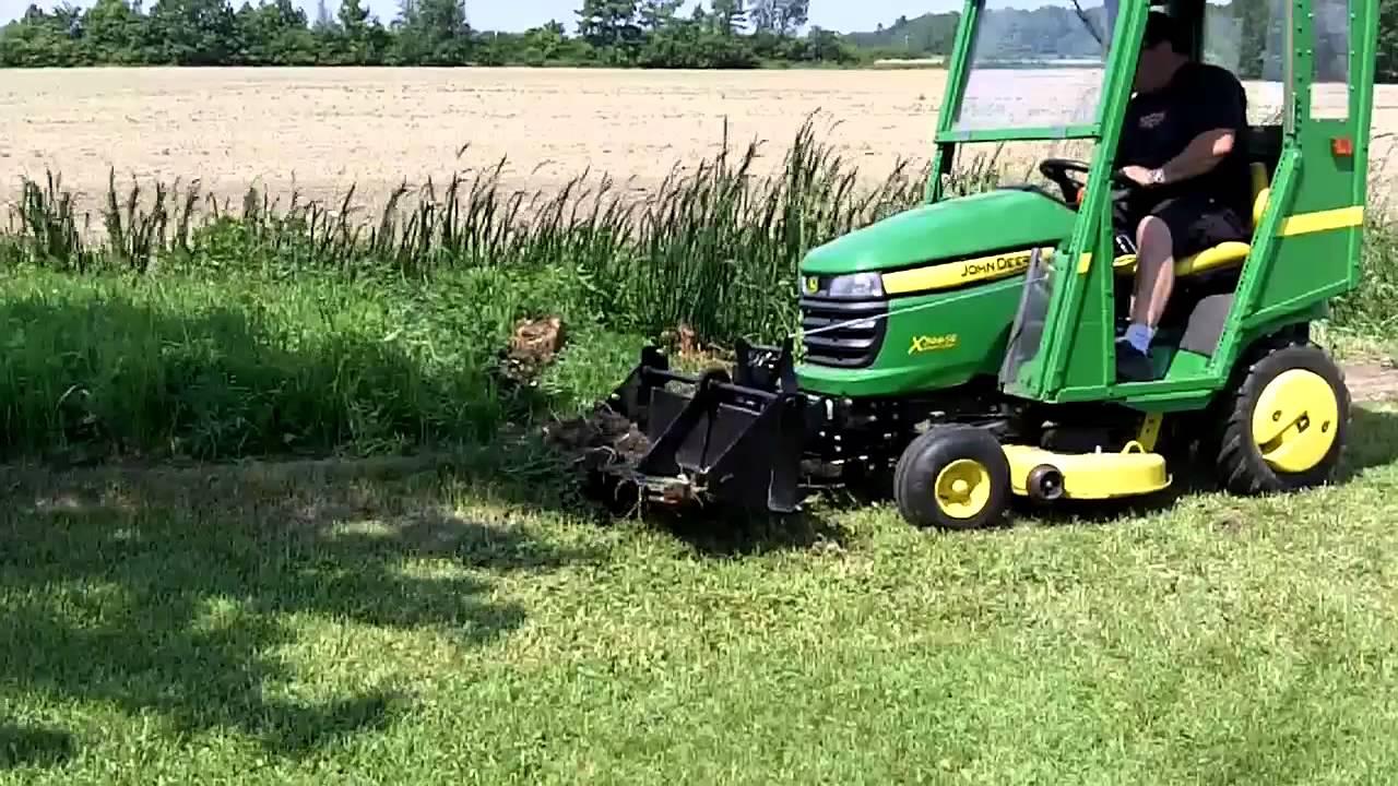 John Deere X300 & 40 inch Tractor Shovel - YouTube