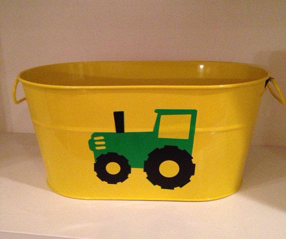 Yellow metal bucket john Deere tractor party decor food ...
