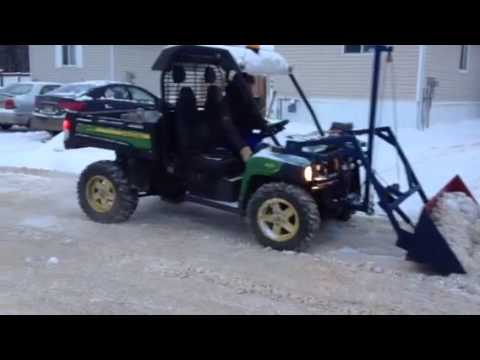 Home made john deere gator snow bucket - YouTube