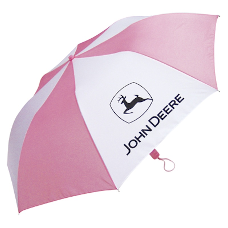 John Deere Pink and White Full Size Travel Umbrella