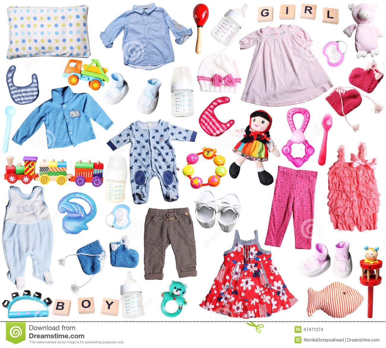 Clothes And Accessories For Baby Boy And Girl Stock Photo ...