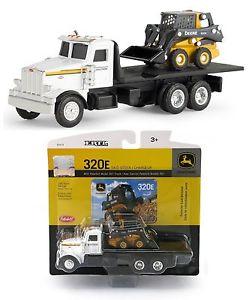 ... ERTL-1-64-John-Deere-PETERBILT-367-Flatbed-Truck-w-320E-Skid-Steer-NIP