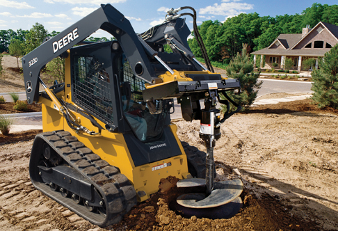 John Deere 323D compact track loader rental on job site