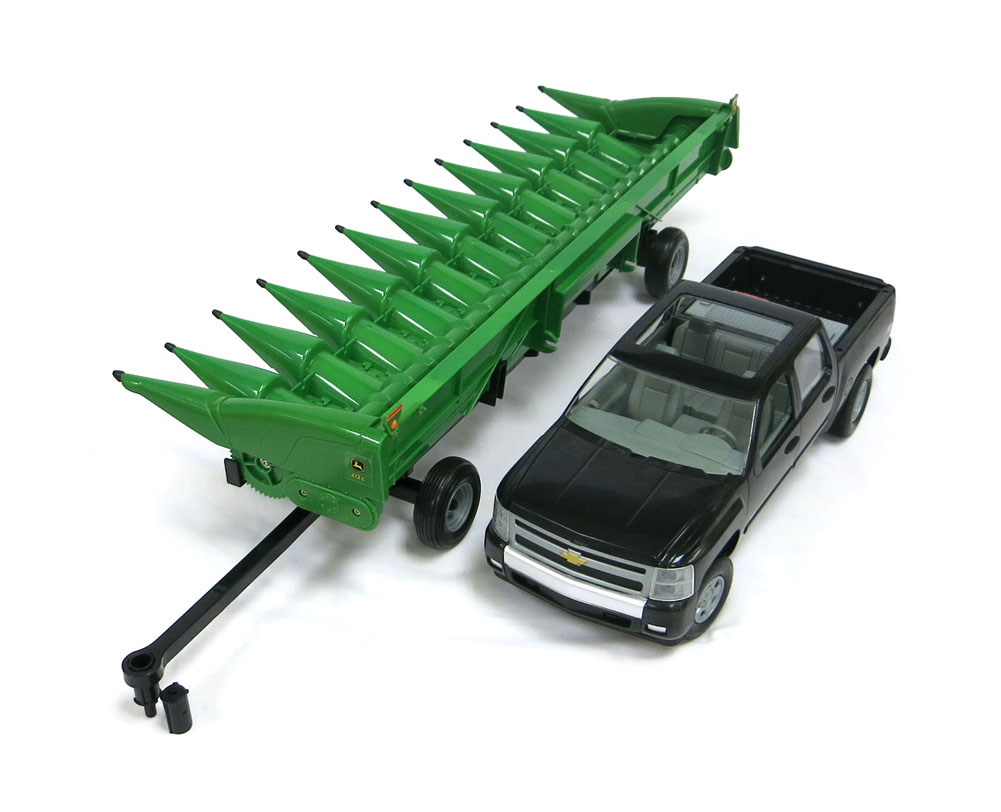 ... Big Farm John Deere Corn Head w/ Header cart and Chevy Pickup Truck