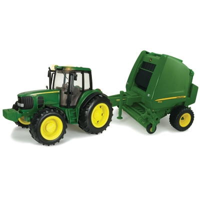 ERTL 1/16 Big Farm John Deere 7330 Tractor & 854 Round Baler Set ...
