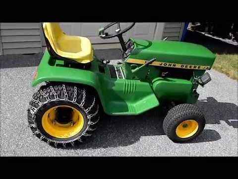 John Deere 110 Garden Tractor Dozer Blade & 48 Mower Deck - YouTube