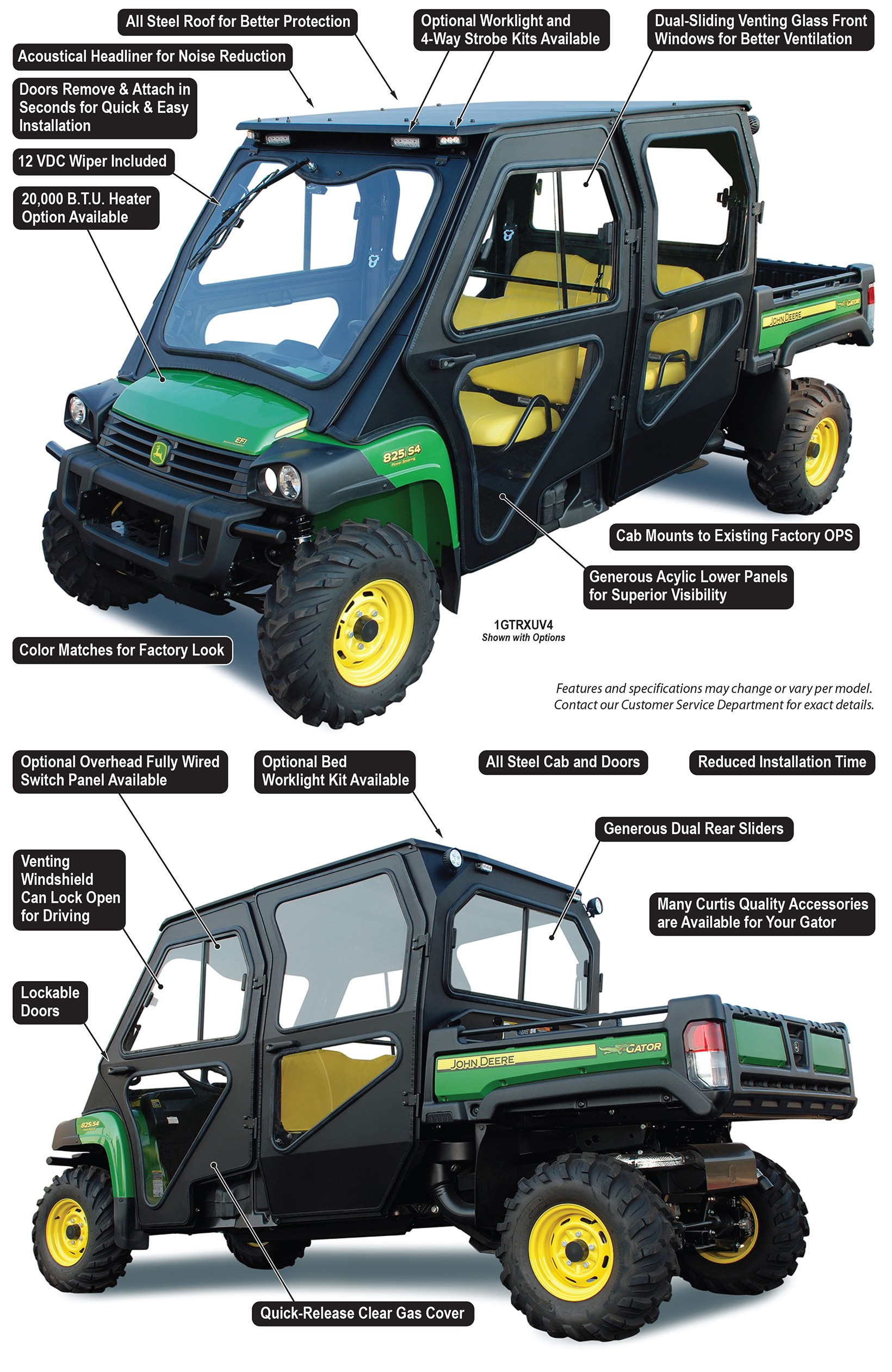 John Deere Gator XUV 825i S4 All Steel Cab System by Curtis Industries ...